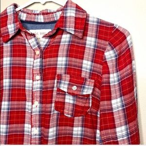 Girl Krazy | Button Down Flannel Shirt Red & Blue